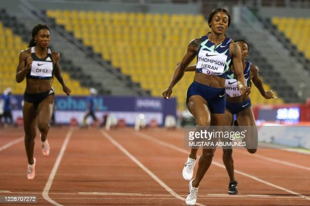 Jamaica's Elaine Thompson-Herah wins the Women's 100m during the IAAF Diamond League competition on September 25, 2020 at the Suheim Bin Hamad...