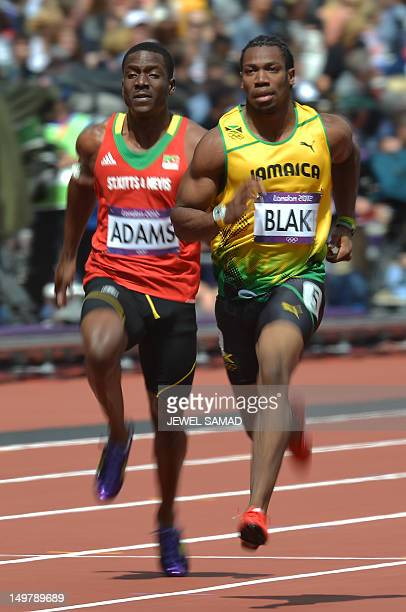 Jamaica's Johan Blake China's Su Bingtian Japan's Ryota Yamagata and Saint Kitts Nevis' Antoine Adams compete in the men's 100m heats at the...