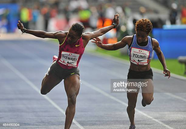 Jamaica's Kerron Stewart runs to win the Women's 100m race during the ISTAF Athletics Meeting at the Olympic stadium in Berlin in Berlin Germany on...