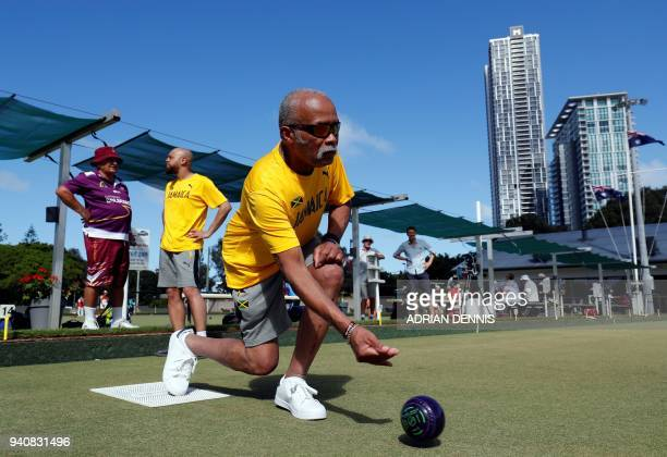 Jamaica's lawn bowls players Melvyn Edwards and Andrew Newell practice at the Southport Bowls Club ahead of the 2018 Gold Coast Commonwealth Games...