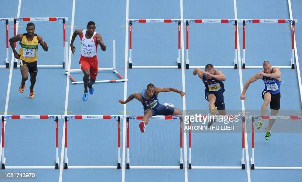 Jamaica's Maurice Smith Cuba's Yordani Garcia US athlete Ashton Eaton US athlete Trey Hardee and Estonia's Andres Raja compete 110 metres hurdles of...
