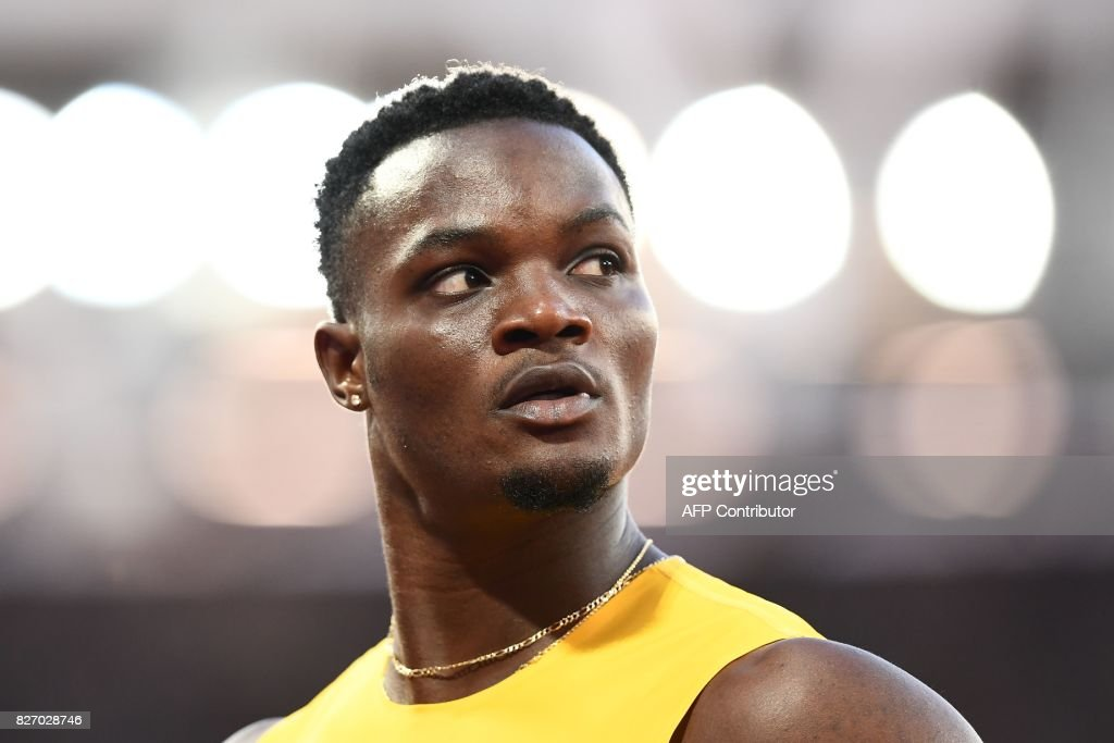 Jamaica's Omar Mcleod reacts after the semi-finals of the men's 110m hurdles athletics event at the 2017 IAAF World Championships at the London Stadium in London on August 6, 2017. / AFP PHOTO / Jewel SAMAD