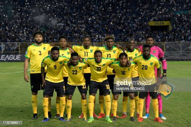 Jamaica's players pose before their CONCACAF League of Nations football match against El Salvador on the final date of the preliminary phase of the...
