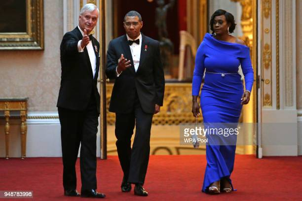 Jamaica's Prime Minister Andrew Holness arrives to attend The Queen's Dinner during The Commonwealth Heads of Government Meeting at Buckingham Palace...