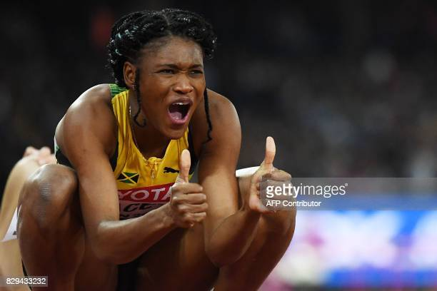 Jamaica's Ristananna Tracey reacts after competing in the final of the women's 400m hurdles athletics event at the 2017 IAAF World Championships at...