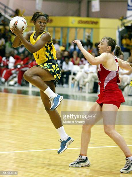 Jamaica's Sharon wiles in action during the bronze medal match between Jamaica and England at the World Netball Champs held at the Independance Park...
