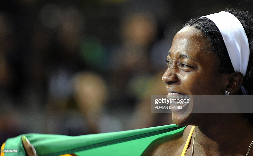 Jamaica's Shelly-Ann Fraser reacts after winning in the women's 100m final race of the 2009 IAAF Athletics World Championships on August 17, 2009 in Berlin.