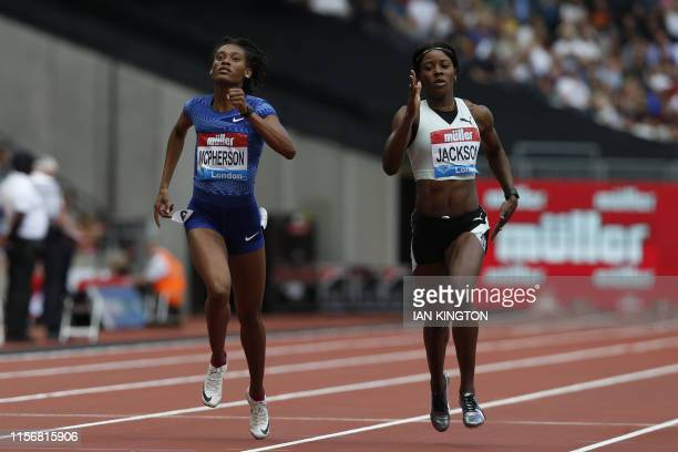 Jamaica's Shericka Jackson and Jamaica's Stephenie Ann McPherson compete in the Women's 400m event during the the IAAF Diamond League Anniversary...