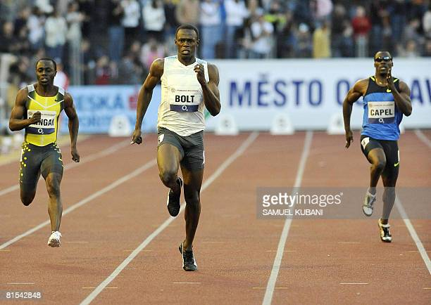 Jamaica's Usain Bolt Brian Dingai of Zimbabwe US John Capel compete in the men's 200m during the IAAF World Athletics Grand Prix meeting on June 12...