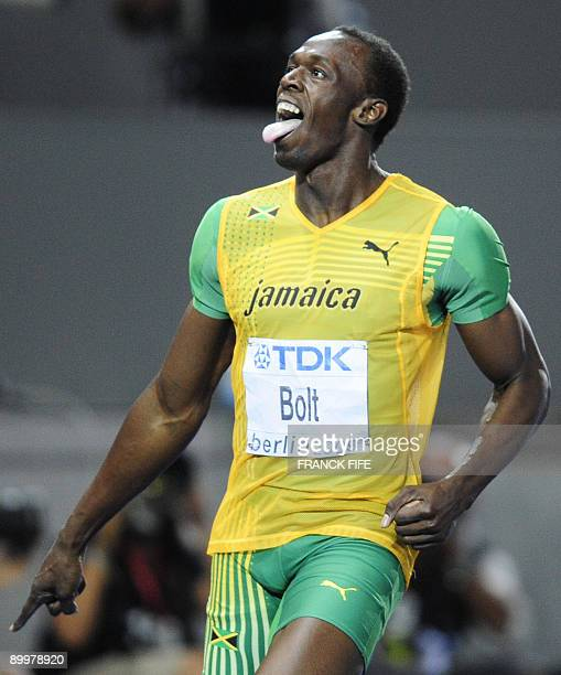 Jamaica's Usain Bolt celebrates winning the men's 200m final race of the 2009 IAAF Athletics World Championships on August 20 2009 in Berlin Jamaican...