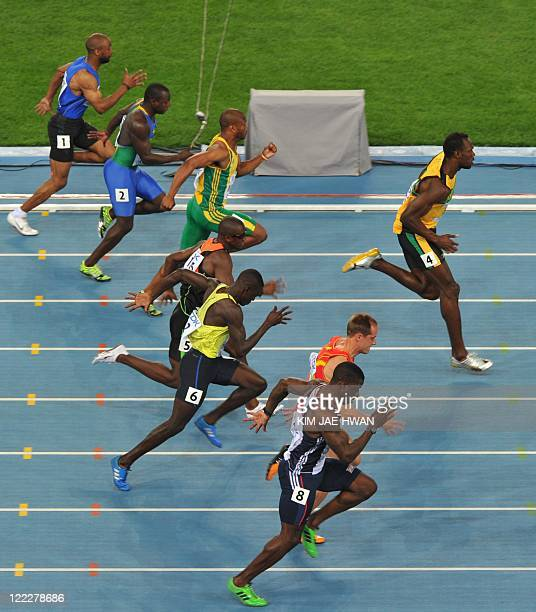 Jamaica's Usain Bolt competes in the men's 100 metres heats at the International Association of Athletics Federations World Championships in Daegu on...
