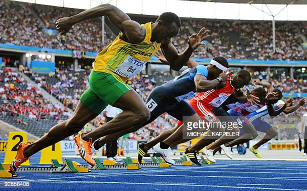 Jamaica's Usain Bolt competes in the men's 100m semifinal race of the 2009 IAAF Athletics World Championships on August 16 2009 in Berlin AFP PHOTO...