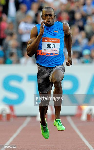 Jamaica's Usain Bolt competes in the men's 100m sprint during the IAAF World challenge Zlata Tretra athletics meeting in Ostrava on May 25 2012 Bolt...