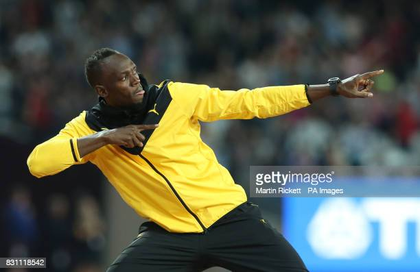 Jamaica's Usain Bolt does a lap of honour during day ten of the 2017 IAAF World Championships at the London Stadium