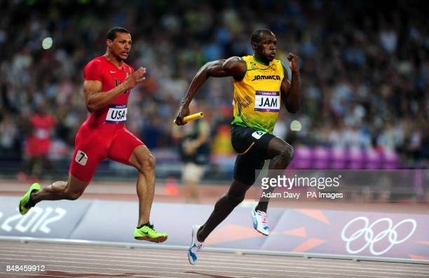 Jamaica's Usain Bolt on the final leg of the of the mens 4x100m relay on day fifteen of the London Olympic Games in the Olympic Stadium London