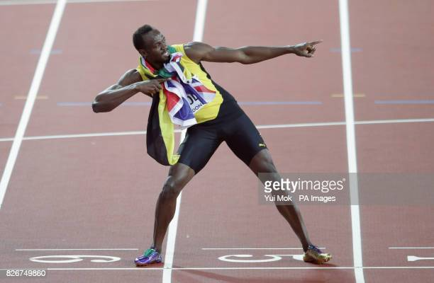 Jamaica's Usain Bolt poses after his last Men's 100m final during day two of the 2017 IAAF World Championships at the London Stadium