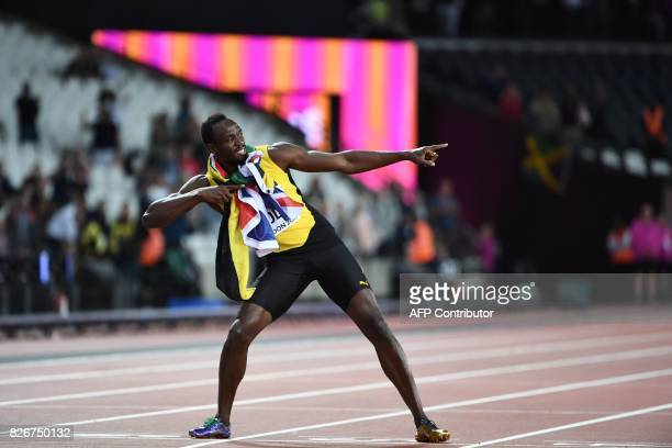Jamaica's Usain Bolt poses after placing third in the final of the men's 100m athletics event at the 2017 IAAF World Championships at the London...