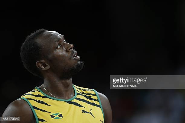 Jamaica's Usain Bolt prepares to compete in a heat of the men's 200 metres athletics event at the 2015 IAAF World Championships at the 'Bird's Nest'...