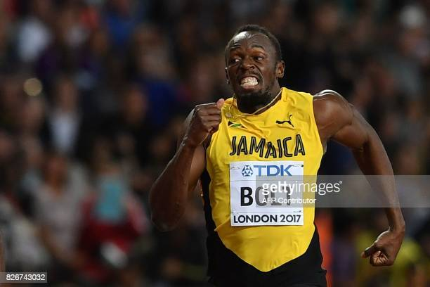 TOPSHOT Jamaica's Usain Bolt runs to third place in the men's 100m athletics event at the 2017 IAAF World Championships at the London Stadium in...