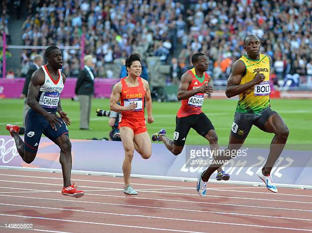 Jamaica's Usain Bolt Saint Kitts Nevis' Antoine Adams China's Su Bingtian and Britain's Dwain Chambers competes in the men's 100m semifinals at the...
