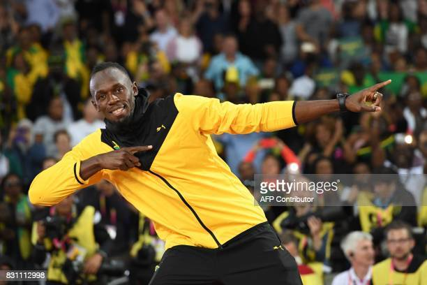 Jamaica's Usain Bolt takes part in a lap of honour on the final day of the 2017 IAAF World Championships at the London Stadium in London on August 13...