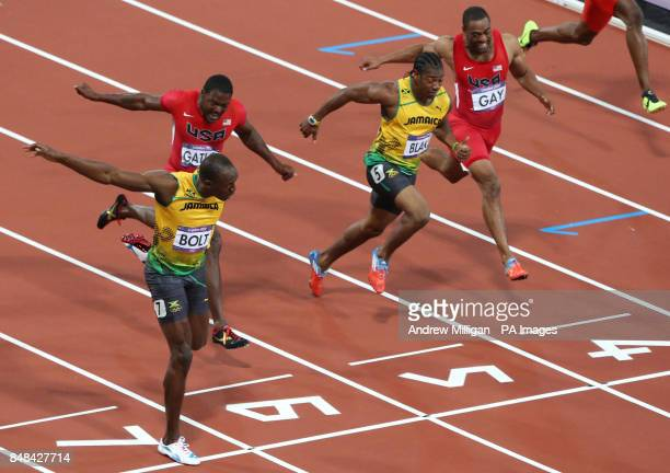 Jamaica's Usain Bolt wins ahead of USA's Justin Gatlin Jamaica's Yohan Blake and USA's Tyson Gay in the Men's 100m Final at the Olympic Stadium on...