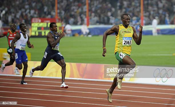 Jamaica's Usain Bolt wins the men's 200m final at the National stadium as part of the 2008 Beijing Olympic Games on August 20 2008 Bolt broke the...