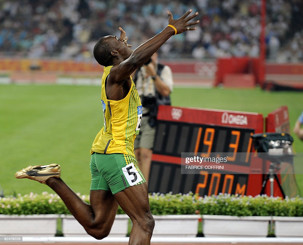 Jamaica's Usain Bolt wins the men's 200m final at the National stadium as part of the 2008 Beijing Olympic Games on August 20, 2008. Bolt broke the men's 200 metres world record here on Wednesday timing 19.30 seconds as he clinched the Olympic Games gold to add to his 100m crown.