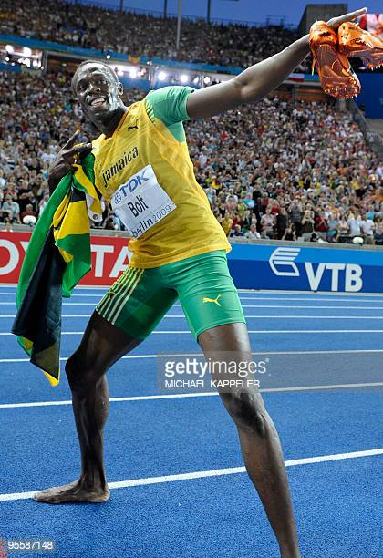 Jamaica's Usain Bolt wins the men's 200m final race of the 2009 IAAF Athletics World Championships on August 20, 2009 in Berlin. Jamaican Usain Bolt...