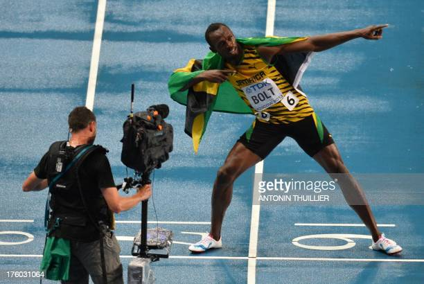 Jamaica's Usain Bolt wins the100 metres final at the 2013 IAAF World Championships at the Luzhniki stadium in Moscow on August 11 2013 Bolt timed a...