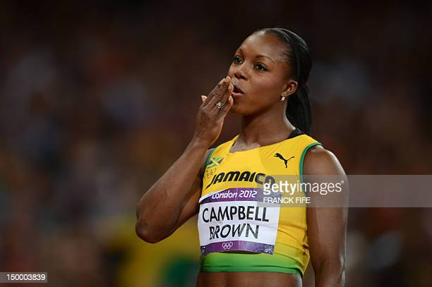 Jamaica's Veronica CampbellBrown blows kisses before competing in the women's 200m final at the athletics event of the London 2012 Olympic Games on...
