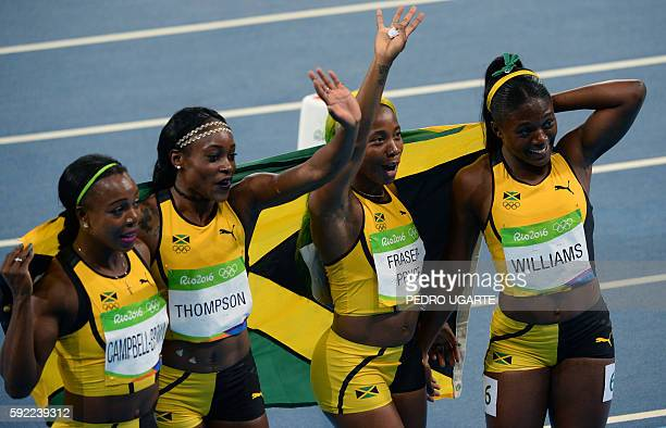 Shelly rio stock photos and pictures getty images jamaicas veronica campbellbrown jamaicas elaine thompson jamaicas shellyann fraserpryce and jamaicas christania williams celebrate after they thecheapjerseys Images
