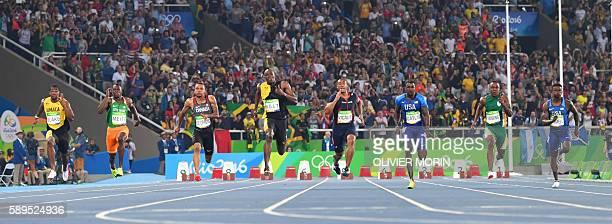 Jamaica's Yohan Blake, Ivory Coast's Ben Youssef Meite, Canada's Andre De Grasse, Jamaica's Usain Bolt, France's Jimmy Vicaut, USA's Justin Gatlin,...