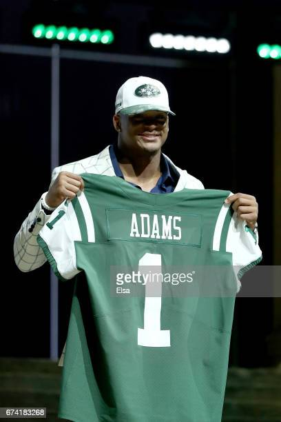 Jamal Adams of LSU reacts after being picked overall by the New York Jets during the first round of the 2017 NFL Draft at the Philadelphia Museum of...