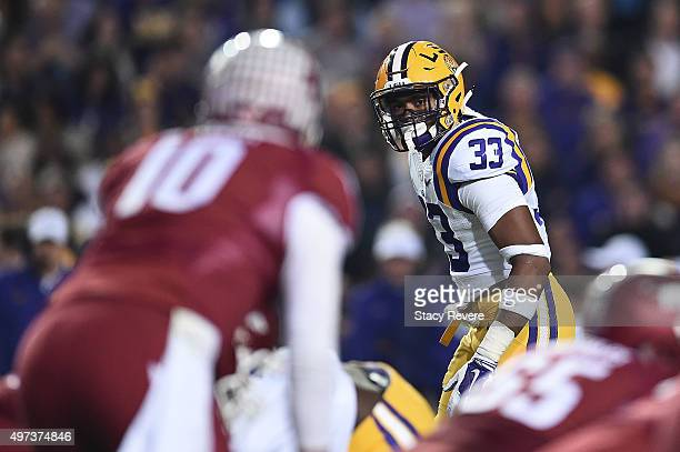 Jamal Adams of the LSU Tigers anticipates a play during a game against the Arkansas Razorbacks at Tiger Stadium on November 14 2015 in Baton Rouge...