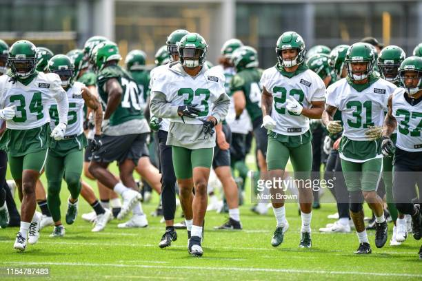 Jamal Adams of the New York Jets performs drills during day two of mandatory minicamp at the Atlantic Health Jets Training Center on June 5, 2019 in...