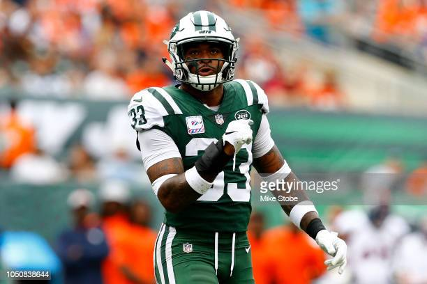 Jamal Adams of the New York Jets reacts against the Denver Broncos during the first quarter in the game at MetLife Stadium on October 07 2018 in East...