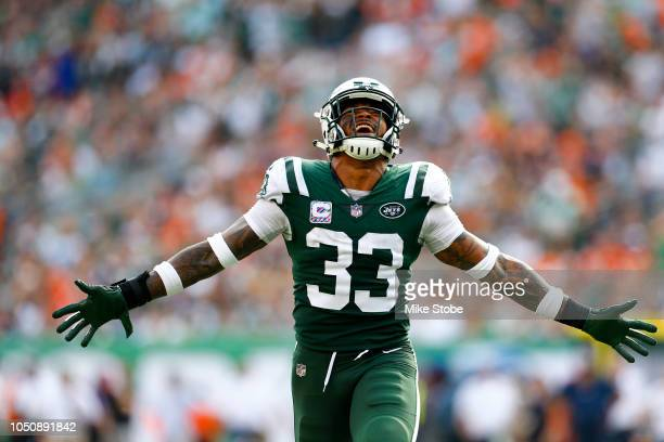 Jamal Adams of the New York Jets reacts against the Denver Broncos during the second half in the game at MetLife Stadium on October 07, 2018 in East...