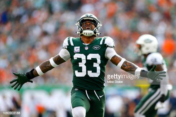 Jamal Adams of the New York Jets reacts against the Denver Broncos during the second half in the game at MetLife Stadium on October 07 2018 in East...