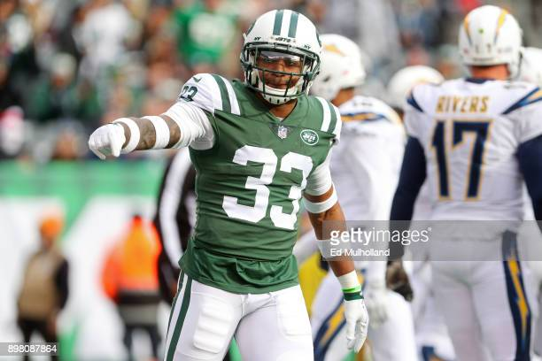 Jamal Adams of the New York Jets reacts against the Los Angeles Chargersduring the first half of an NFL game at MetLife Stadium on December 24 2017...