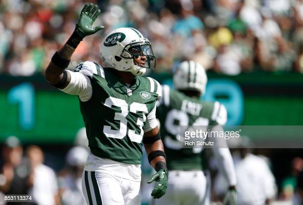 Jamal Adams of the New York Jets reacts against the Miami Dolphins during the first half of an NFL game at MetLife Stadium on September 24 2017 in...