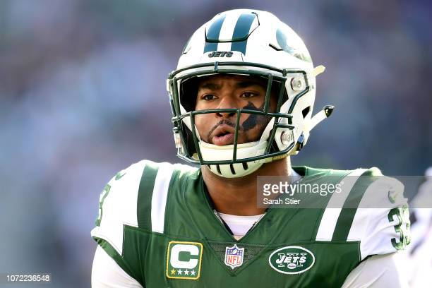 Jamal Adams of the New York Jets reacts against the New England Patriots at MetLife Stadium on November 25 2018 in East Rutherford New Jersey
