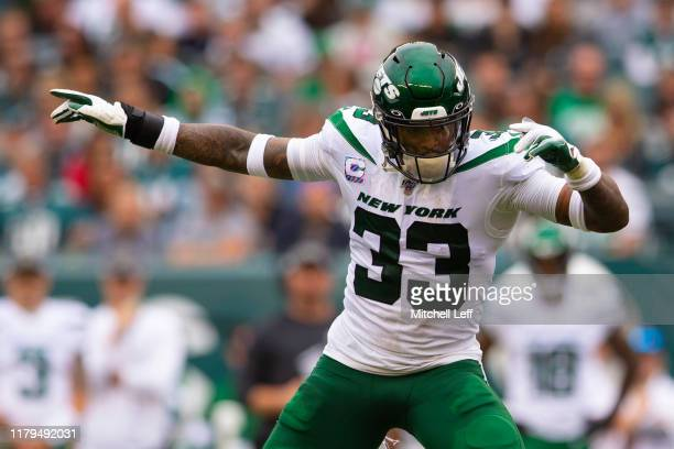 Jamal Adams of the New York Jets reacts against the Philadelphia Eagles at Lincoln Financial Field on October 6 2019 in Philadelphia Pennsylvania