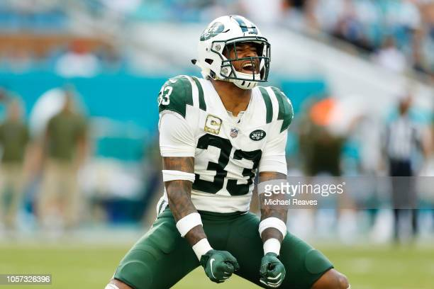 Jamal Adams of the New York Jets reacts in the fourth quarter of their game against the Miami Dolphins at Hard Rock Stadium on November 4 2018 in...