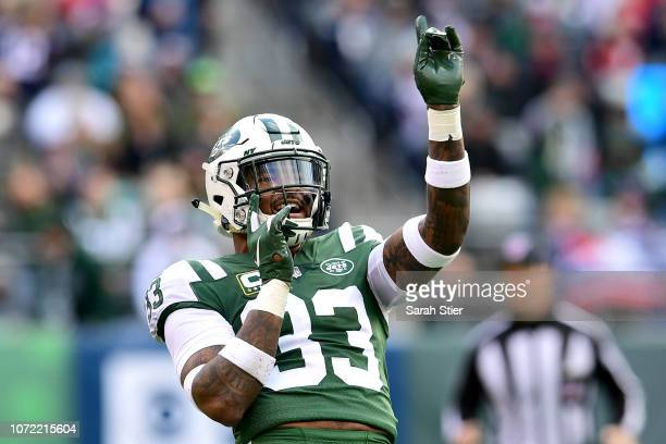 Jamal Adams of the New York Jets reacts to a penalty call against the New England Patriots during the first half at MetLife Stadium on November 25...