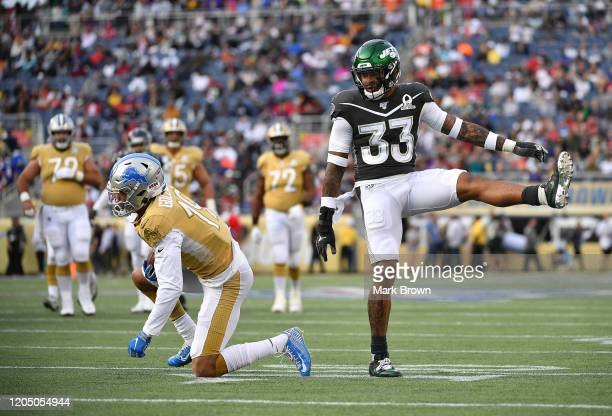 Jamal Adams of the New York Jets reacts to a tackle during the 2020 NFL Pro Bowl at Camping World Stadium on January 26 2020 in Orlando Florida