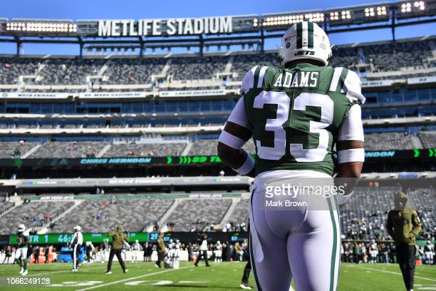 Jamal Adams of the New York Jets warms up prior to the game against the Buffalo Bills at MetLife Stadium on November 11 2018 in East Rutherford New...