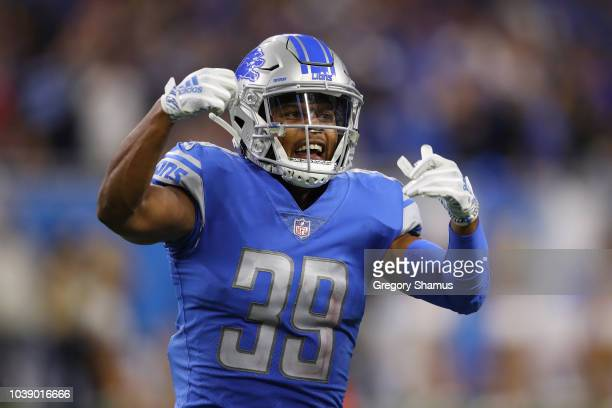 Jamal Agnew of the Detroit Lions reacts during the fourth quarter while playing the New England Patriots at Ford Field on September 23 2018 in...