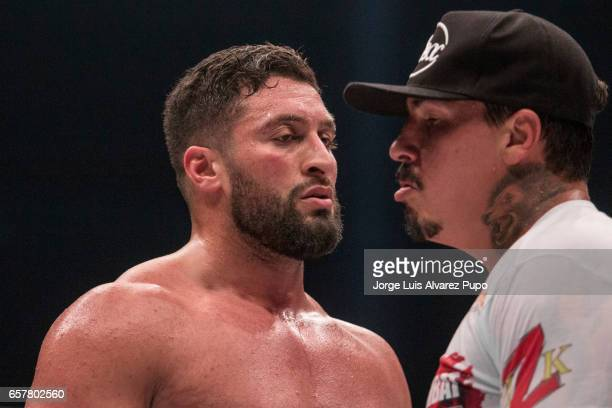 Jamal Ben Saddik of Morocco challenges Guto Inocente of Brazil during a Heavyweight Glory kickboxing Superfight at Forest National Arena on March 25...