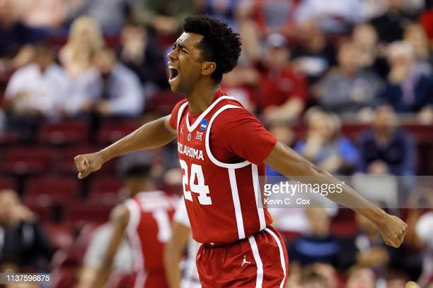 Jamal Bieniemy of the Oklahoma Sooners celebrates after a play in the first half against the Mississippi Rebels during the first round of the 2019...